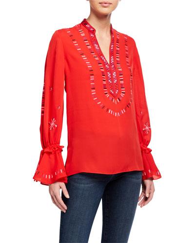 Junie V-Neck Bell-Sleeve Silk Blouse