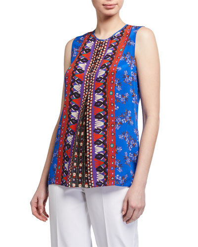 Lorina Printed Sleeveless Blouse