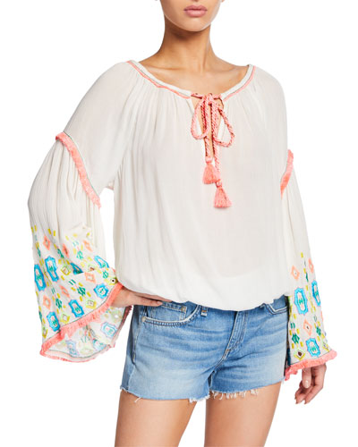 Ellery Embroidered Bell-Sleeve Top
