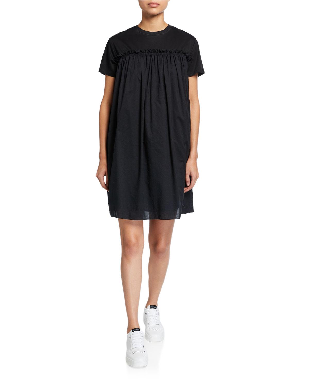 Mixed-Media Crewneck Short-Sleeve Dress