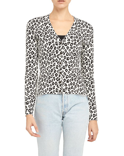 Leopard-Print Button-Front Cardigan