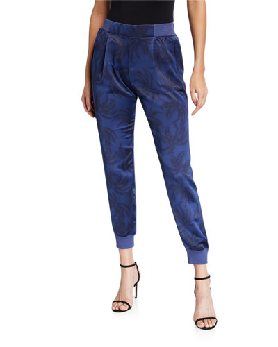 Palm-Print Satin Pull-On Pants