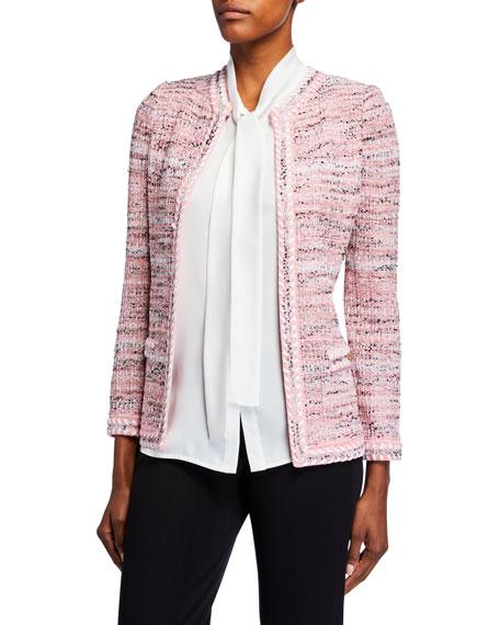 Misook Petite Tweed Jacket w/ Trim Detail