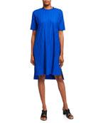 Eileen Fisher Petite Wide Rib Mock-Neck Elbow-Sleeve Dress