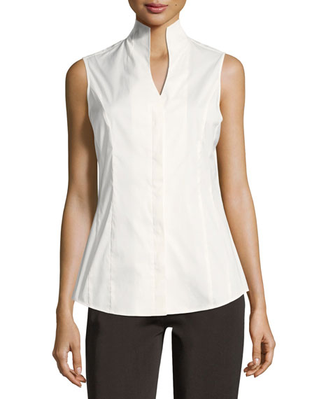 Misook Plus Size Sleeveless Stretch Cotton Button-Down Shirt
