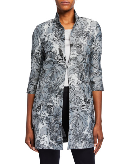 Misook Plus Size Abstract Woven Jacket