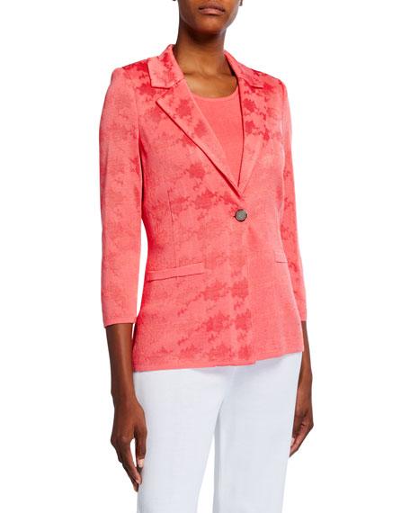 Misook Textured One-Button Jacket