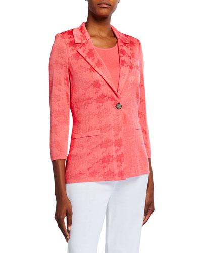 Plus Size Textured One-Button Jacket