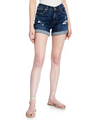 7 for all mankind Mid-Rise Rolled-Cuff Distressed Denim