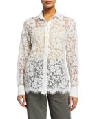 ATM Anthony Thomas Melillo Cotton Lace Button-Down Shirt