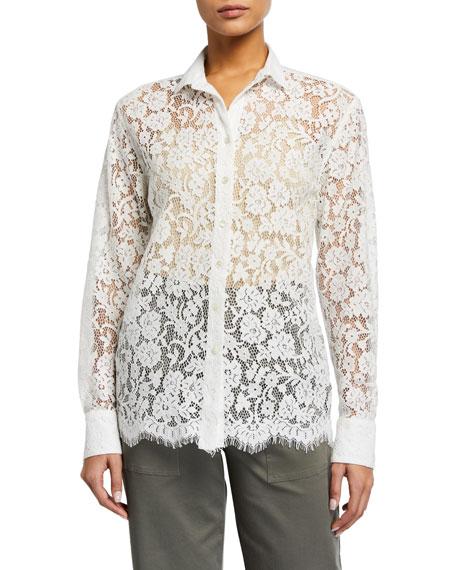 ATM Anthony Thomas Melillo Cotton Lace Button-Down Shirt