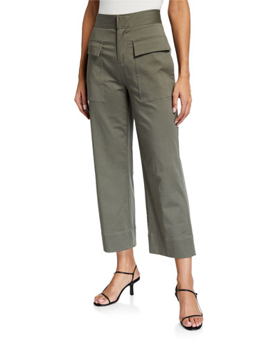 Cotton Satin Straight-Leg Pants