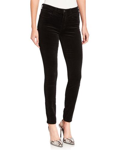 Marguerite Velvet High-Rise Skinny Jeans
