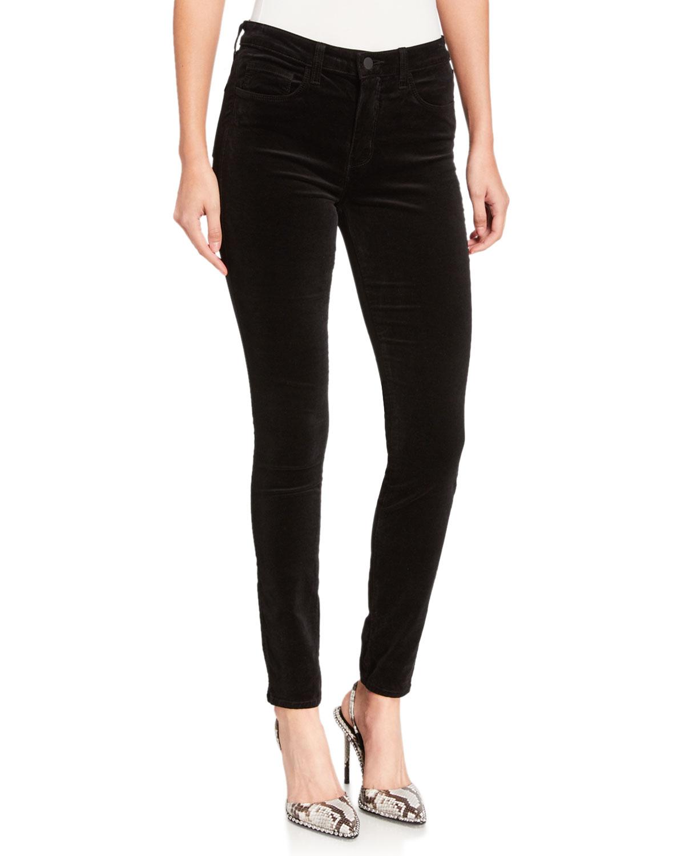 Marguerite Velvet High Rise Skinny Jeans In Noir by L Agence