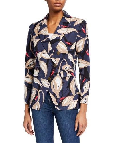 Plus Size Budding Print Blazer Jacket