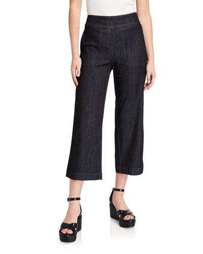 Plus Size Summer Day Denim Crop Pants