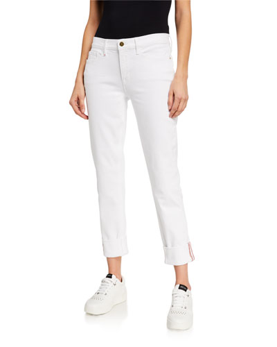 Le Nik Mid-Rise Straight Cuffed Jeans