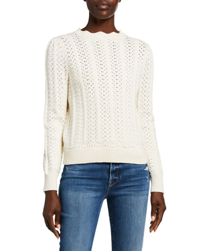 Pointelle Petal Scalloped Sweater