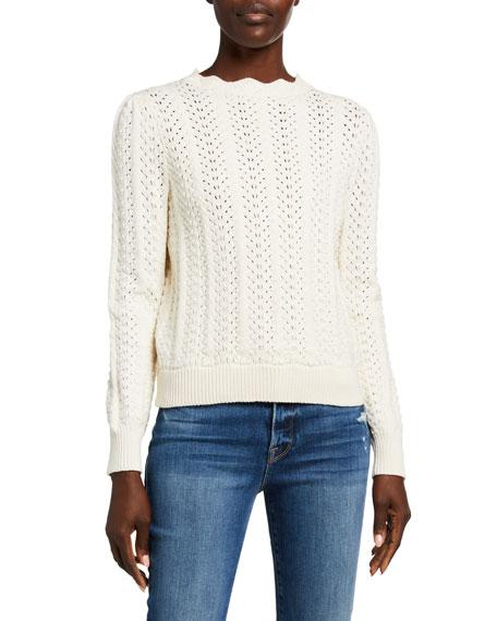 FRAME Pointelle Petal Scalloped Sweater