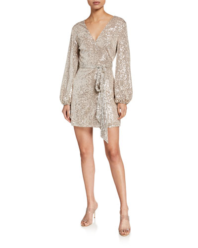 Lange Long-Sleeve Sequin Cocktail Dress