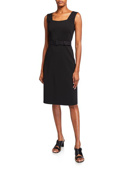 Lafayette 148 New York Monica Secco Stretch Sleeveless Belted Dress