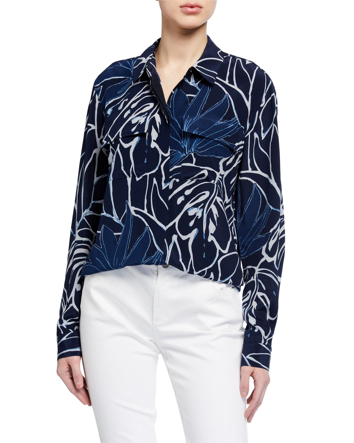 Lafayette 148 Tops AURORA ZORA REVERSE PORCELAIN PRINT BUTTON-DOWN SILK SHIRT