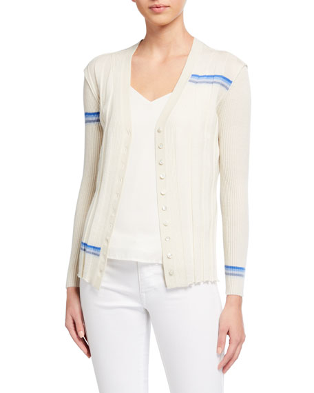JED Syncopation Striped V-Neck Multi Rib Cardigan