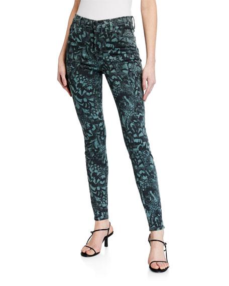 J Brand Maria Printed High-Rise Skinny Jeans