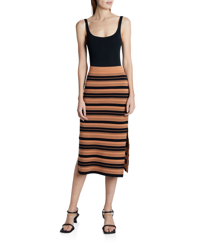 Proenza Schouler White Label Skirts COMPACT STRIPED MIDI SKIRT