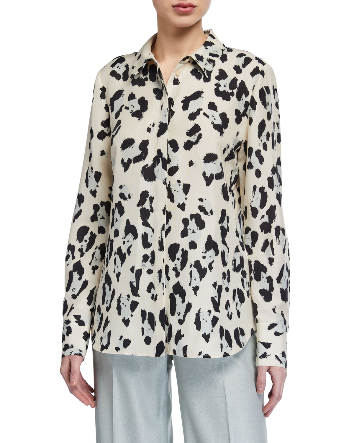 Lafayette 148 SCOTTIE PAINTED LEOPARD PRINT SILK BUTTON-DOWN BLOUSE