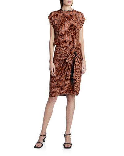 Printed Georgette Short-Sleeve Wrap Dress