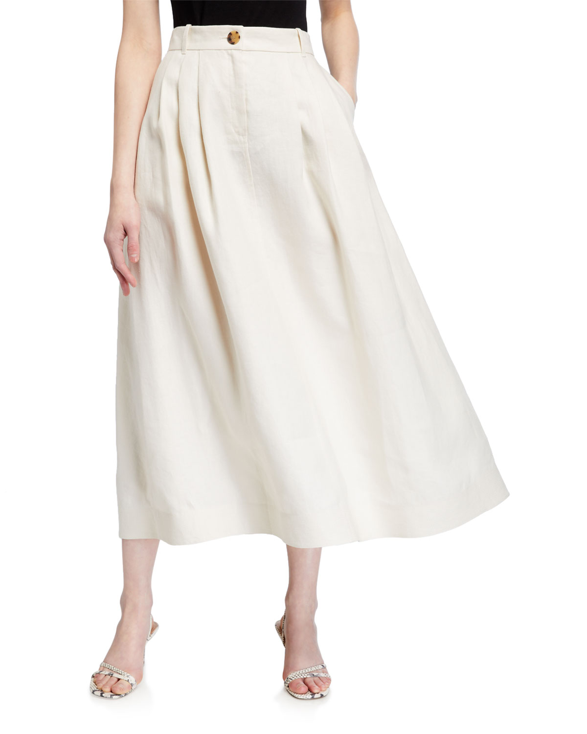 Lafayette 148 Skirts ROSABELLA LAVISH LINEN PLEATED MIDI SKIRT