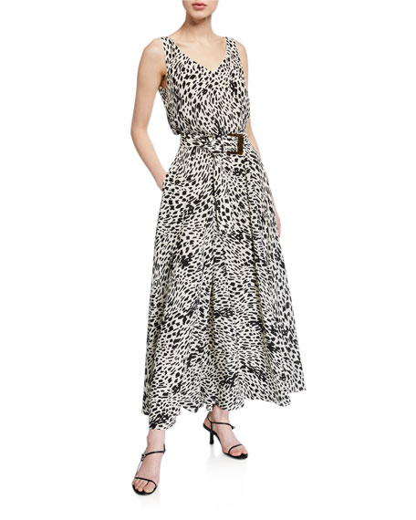 Lafayette 148 New York Memphis Cheetah Print Sleeveless Silk Dress