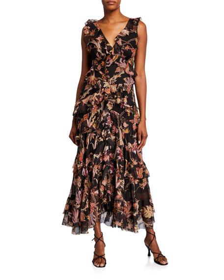Zimmermann Wavelength Frilled Long Dress
