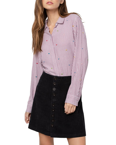 Taylor Pinstriped Button-Down Top