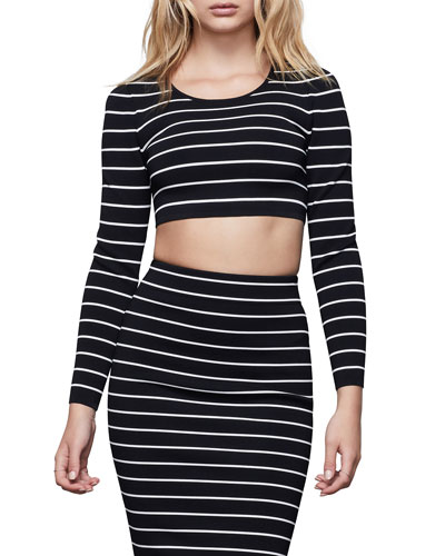 Long-Sleeve Striped Crop Top - Inclusive Sizing