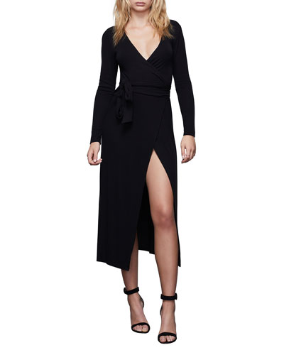 Solid Long-Sleeve Wrap Dress - Inclusive Sizing
