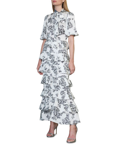 Floral Tie-Neck Puff-Sleeve Tiered Ruffle Midi Dress