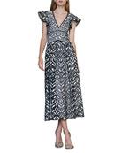 ML Monique Lhuillier Flutter-Sleeve Embroidered Lace Dress