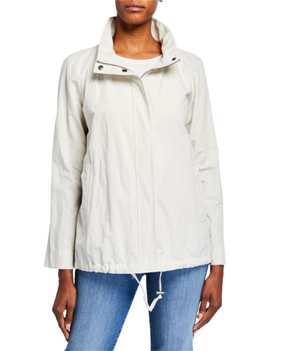 Plus Size Stand Collar Zip-Front Organic Cotton Jacket