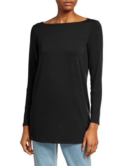 Eileen Fisher Plus Size Boat-Neck Long-Sleeve Jersey Tunic