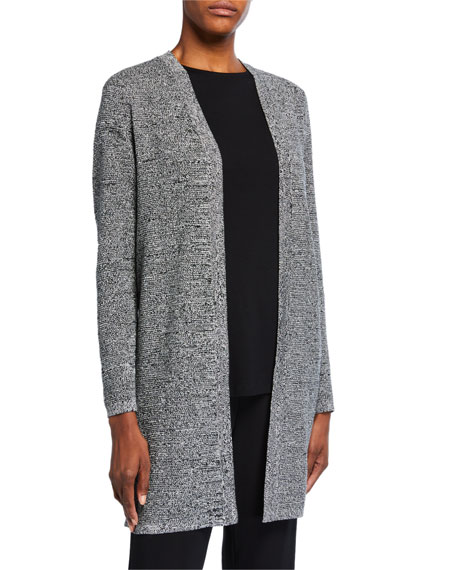 Eileen Fisher Petite Marled Open-Front Long Cardigan