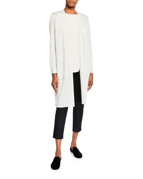 Eileen Fisher Plus Size Sparkle Crepe Organic Linen Long Cardigan