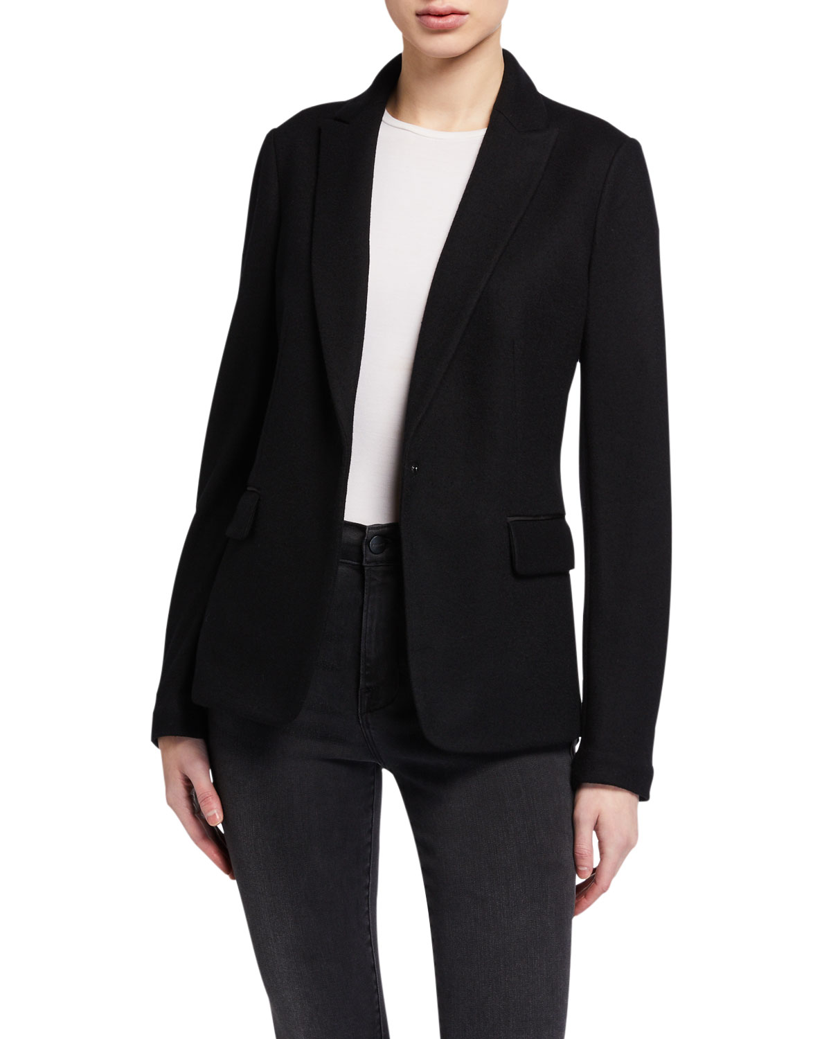 Rag & Bone Lexington Snap-front Wool Blazer In Black