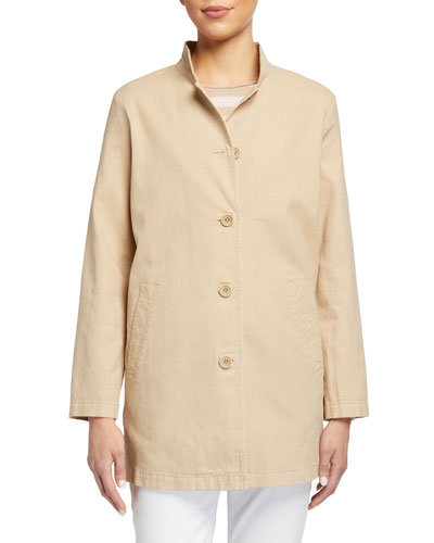 Plus Size Stand-Collar Button-Front Canvas Jacket