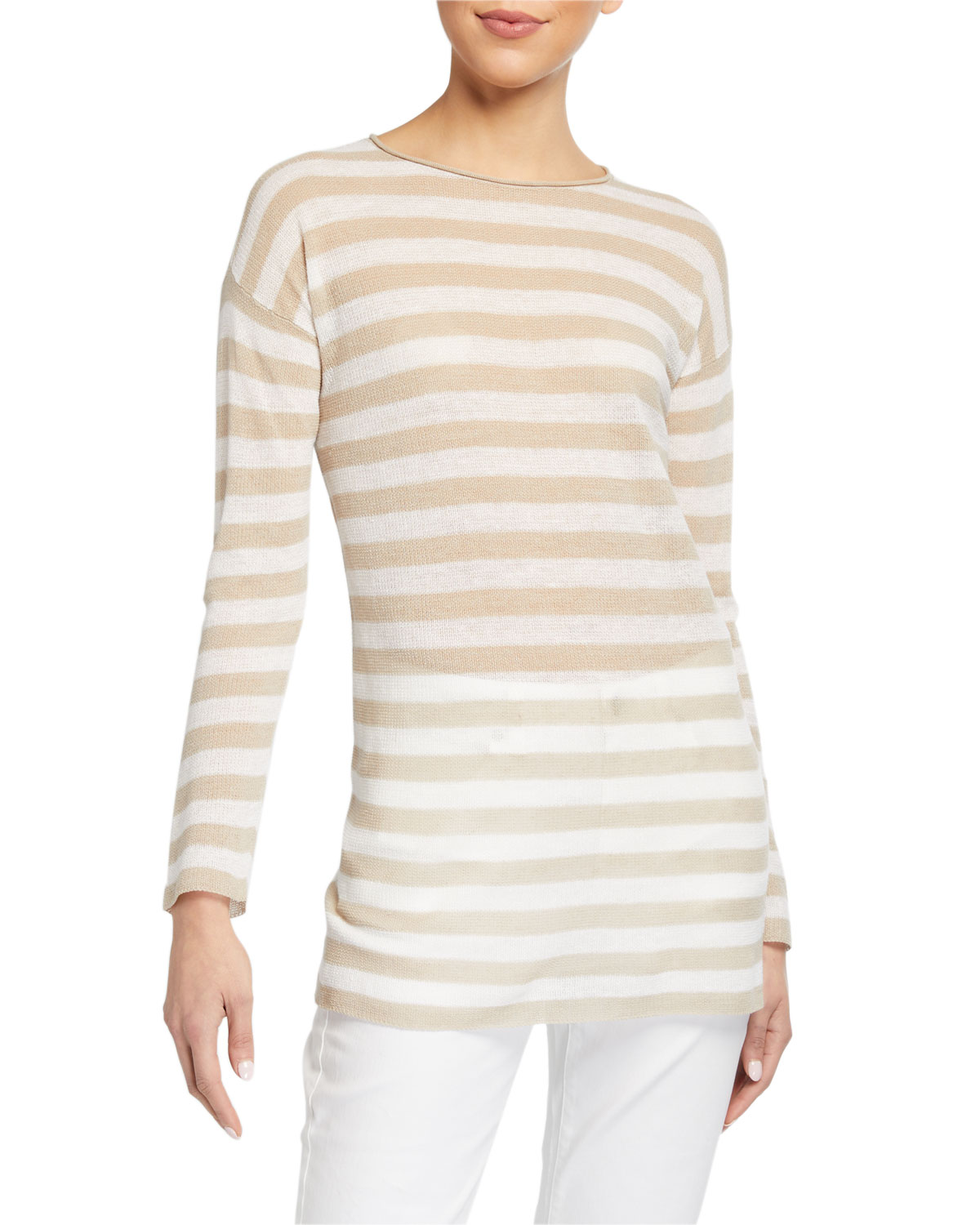 Eileen Fisher Tops STRIPED LONG-SLEEVE ORGANIC LINEN/COTTON TUNIC