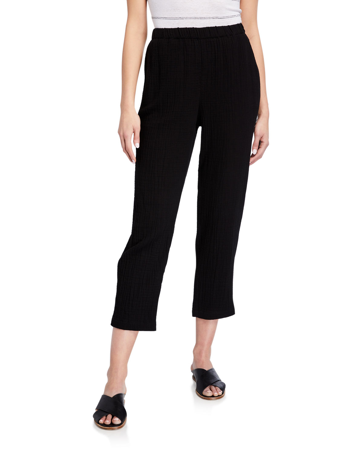 Eileen Fisher Pants TAPERED ORGANIC COTTON GAUZE ANKLE PANTS