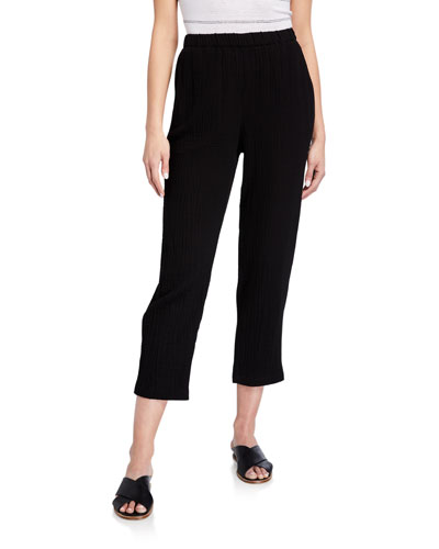 Petite Tapered Organic Cotton Gauze Ankle Pants