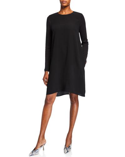 Petite Silk Crepe Long-Sleeve Shift Dress