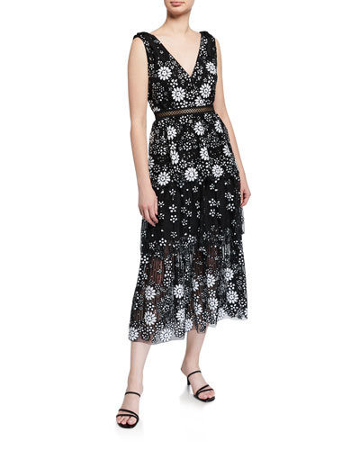 Starlet Deco Sequined Tiered Midi Dress